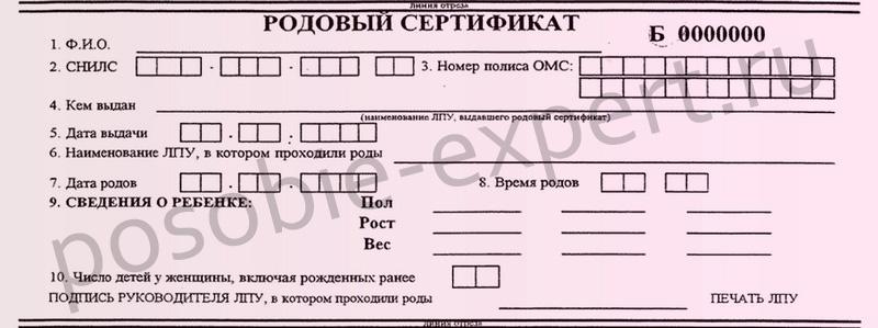 Пособие по родовому сертификату