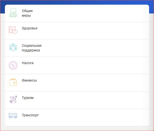 Перечень категорий на главной странице сервиса